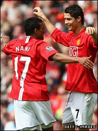 Cristiano Ronaldo celebrates with Nani after scoring for Man Utd