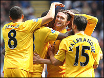 Robbie Keane, centre, celebrates