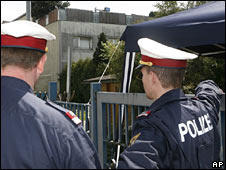 Police guarding Joseph Fritzl's house in Amstetten, Lower Austria.