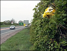 Flowers at the A41 crash scene
