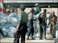 Police confiscate bags of salt for sale on the black market in Harare