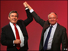 PM Gordon Brown and Ken Livingstone at the Labour Party conference in 2007