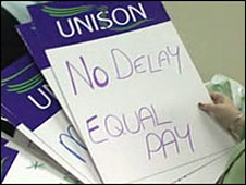 Unison equal pay placard