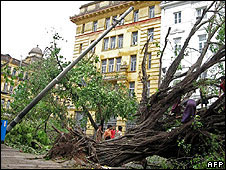 A pole and tree lie uprooted in a Rangoon street on 4 May