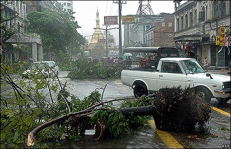 Trees block a road in Rangoon on 3 May