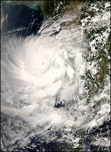 The eye of the storm is visible just off Burma in the Bay of Bengal on 2 May