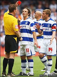 Referee Paul Taylor sends off Martin Rowlands