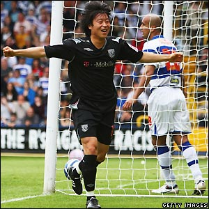 Kim celebrates his first goal for the club