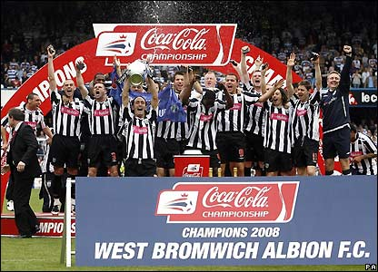 West Brom celebrate winning the title