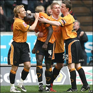 Wolves celebrate their winner