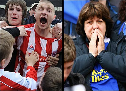 Rival fans show their contrasting emotions