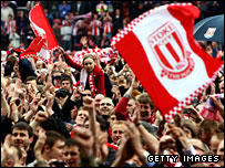 Stoke fans celebrate returning to the top flight after 23 years