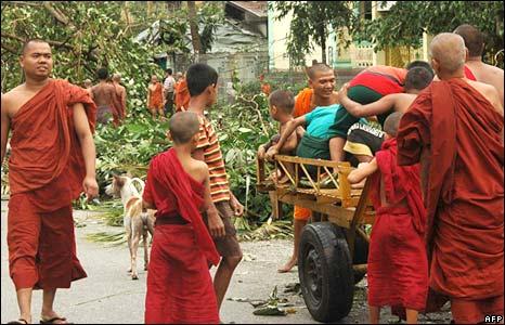 Monks in Rangoon street, 4 May.