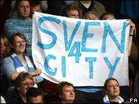 Man City fans show support for Eriksson