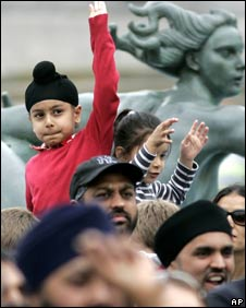 A Sikh boy at the celebrations in Trafalgar Square