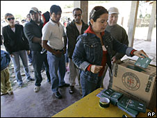 Voters in an autonomy referendum in Santa Cruz, Bolivia, 4 May 2008