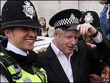 Police officer with Boris Johnson