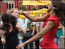 Young woman in a fight in Eastenders