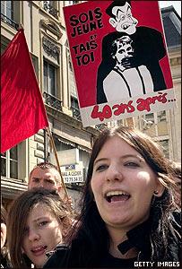 Protesta estudiantil en Lyon, mayo de 2008
