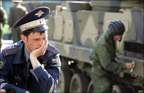 Traffic policeman at Victory Day parade in Moscow