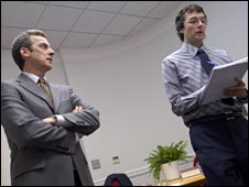 Under the watchful eye of the boss in BBC series The Thick of It