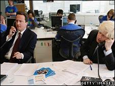 David Cameron and Boris Johnson campaigning ahead of the mayoral election