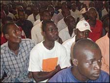 Inmates at Abidjan's only prison watching a screening