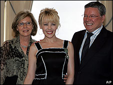 Kylie Minogue with parents Carol and Ron