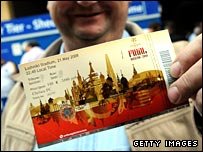 Chelsea supporter with Champions League final ticket