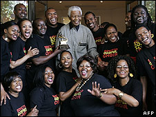 Nelson Mandela with the Soweto Gospel Choir