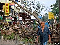 Destrozos en Rangún