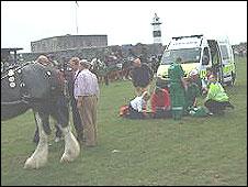 Ambulance crews help the injured
