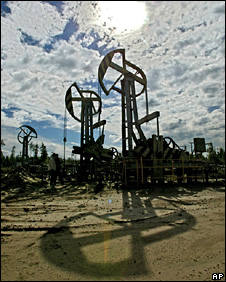 Oil derricks in western Siberia, Russia (archive)