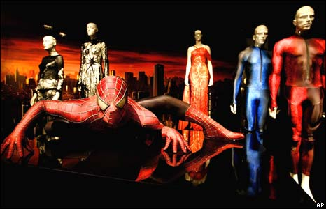 The Spiderman costume and fashions inspired by the character are displayed at the Metropolitan Museum of Art during the Superheroes: Fashion and Fantasy exhibition