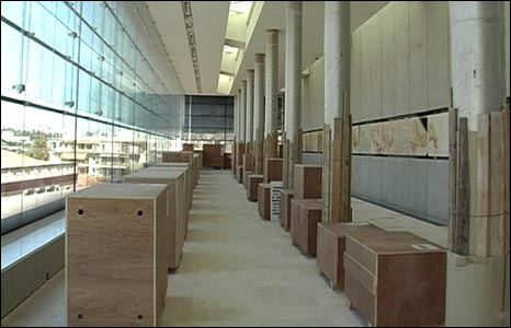 Antiquities still in boxes in the museum