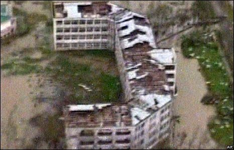 Aerial view of school surrounded by water, Rangoon