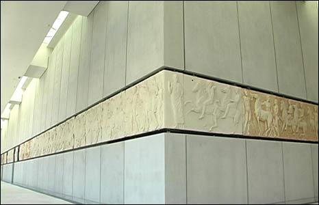 Parthenon frieze displayed in the new museum