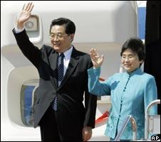 Hu Jintao and his wife Liu Yongqing, 06/05