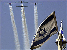 Israeli Air Force Fuga aircraft during training for upcoming festivities
