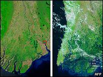 Im�genes satelitales de Birmania