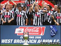 West Bromwich Albion celebrate winning the Championship title