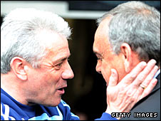 Kevin Keegan and Avram Grant exchange words after Chelsea's 2-0 win over Newcastle