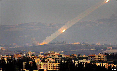 Katyusha rockets are fired from southern Lebanon into Israel in August 2006