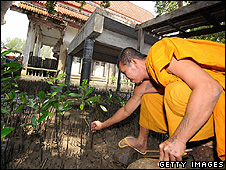 Monk planting mangrove saplings outside a temple (Getty Images)