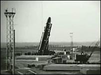 """Ракета Р-16 на стартовом столе (кадр из документального фильма """"Космодром. Сгоревшие заживо"""")"""