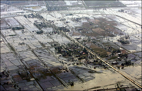 An aerial view of devastation caused by the cyclone Nargis (6 May 2008)