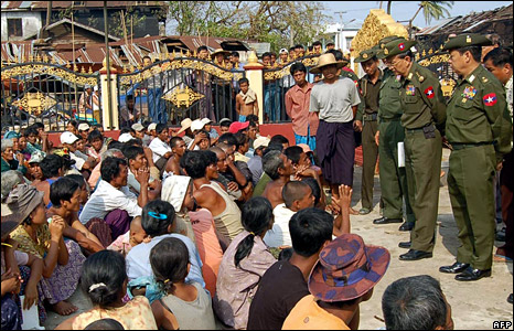 Burmese military leaders visit a cyclone-hit area in the Irrawaddy delta region (5 May 2008)