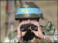 Soldado ruso en Abjasia