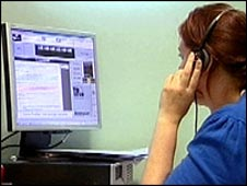 Person using voice-risk analyser software