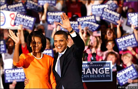 Barack Obama and wife Michelle at a rally on 6 May 2008 in Raleigh, North Carolina
